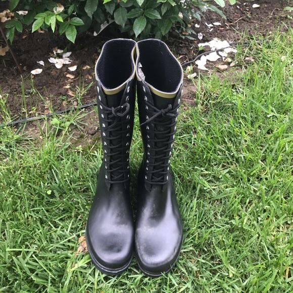 Chooka Black Lace Up Rain Boots